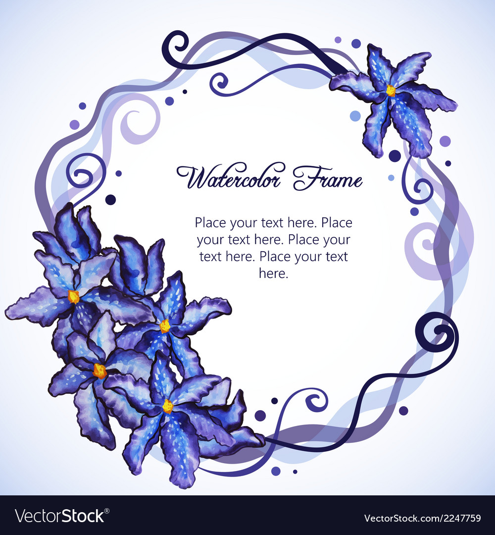 Watercolor floral frame of purple iris vector | Price: 1 Credit (USD $1)