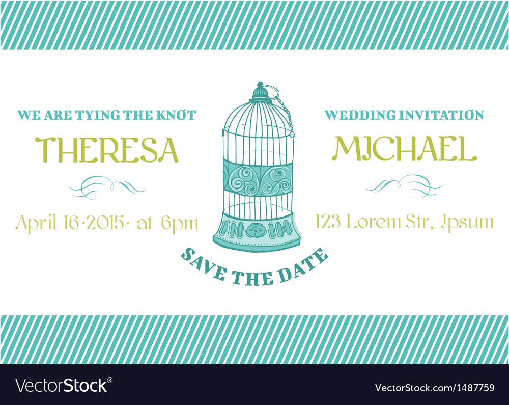 Wedding vintage invitation card - bird cage theme vector | Price: 1 Credit (USD $1)