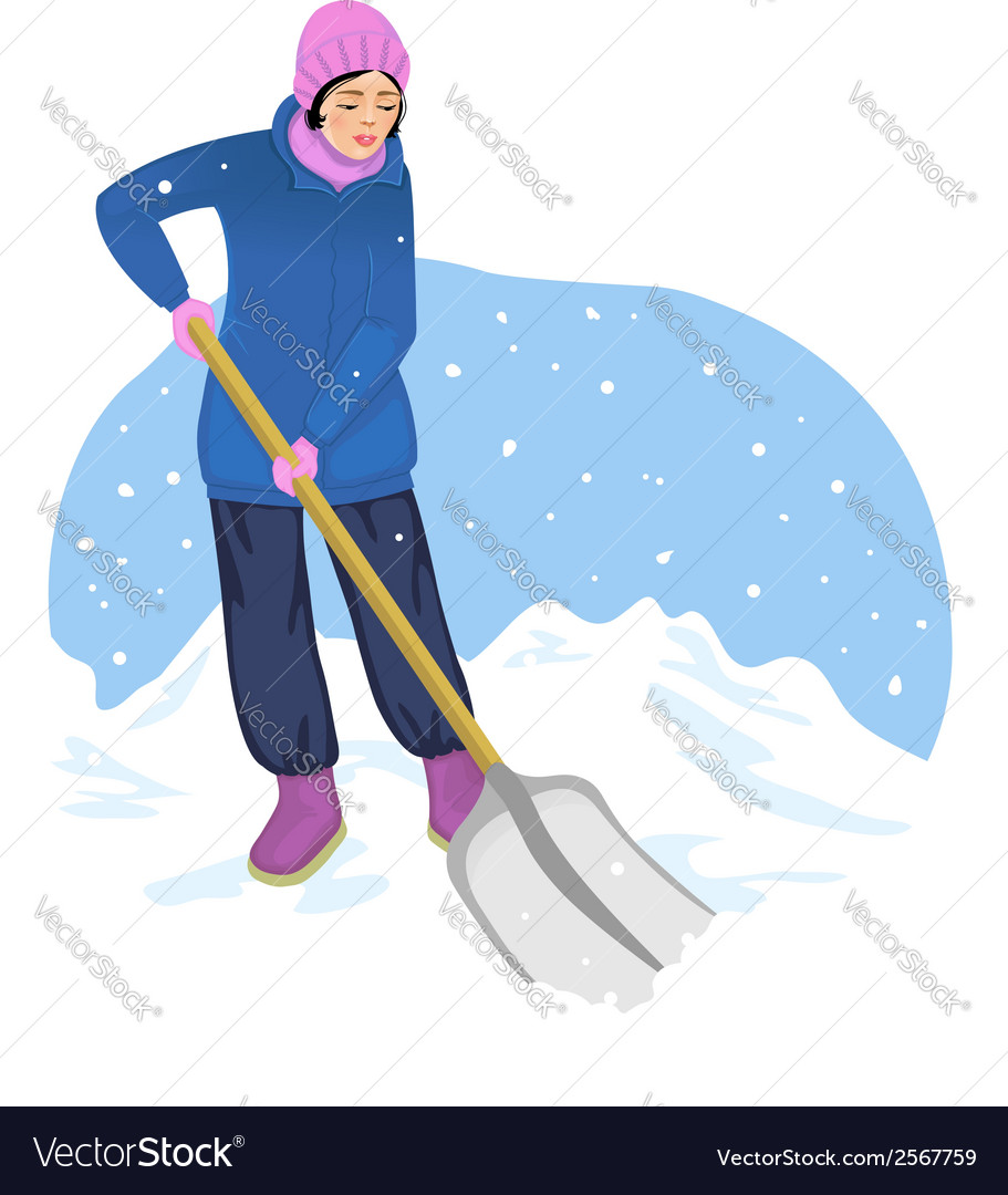 Young woman cleans the road from snow vector | Price: 1 Credit (USD $1)