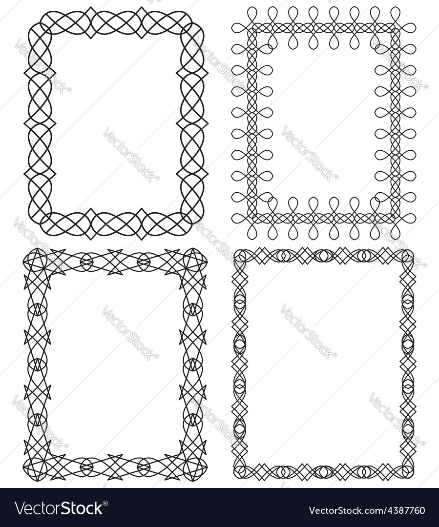 4 black geometric frame in different styles vector