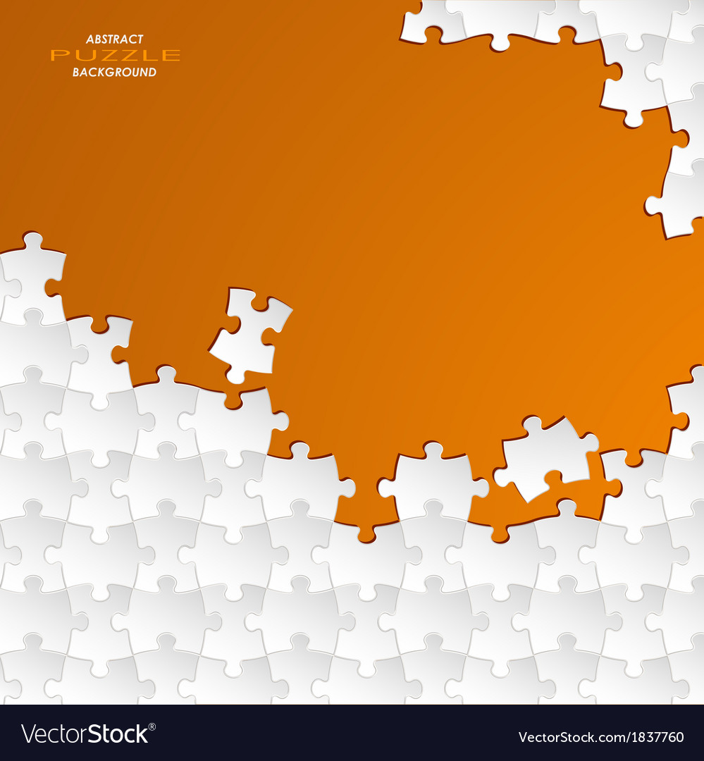 Abstract white group puzzle with orange background vector | Price: 1 Credit (USD $1)