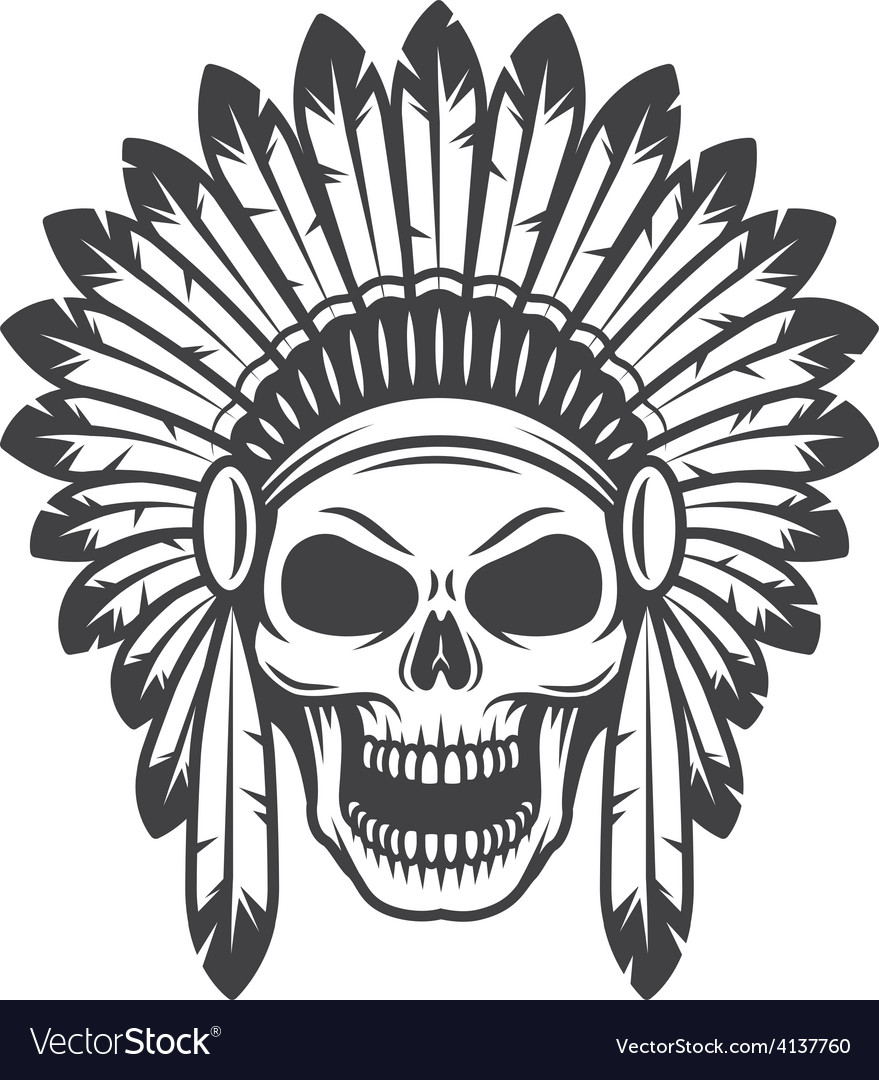 American indian skull vector | Price: 1 Credit (USD $1)