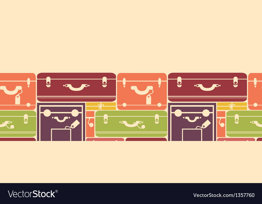 Colorful luggage horizontal seamless pattern vector | Price: 1 Credit (USD $1)