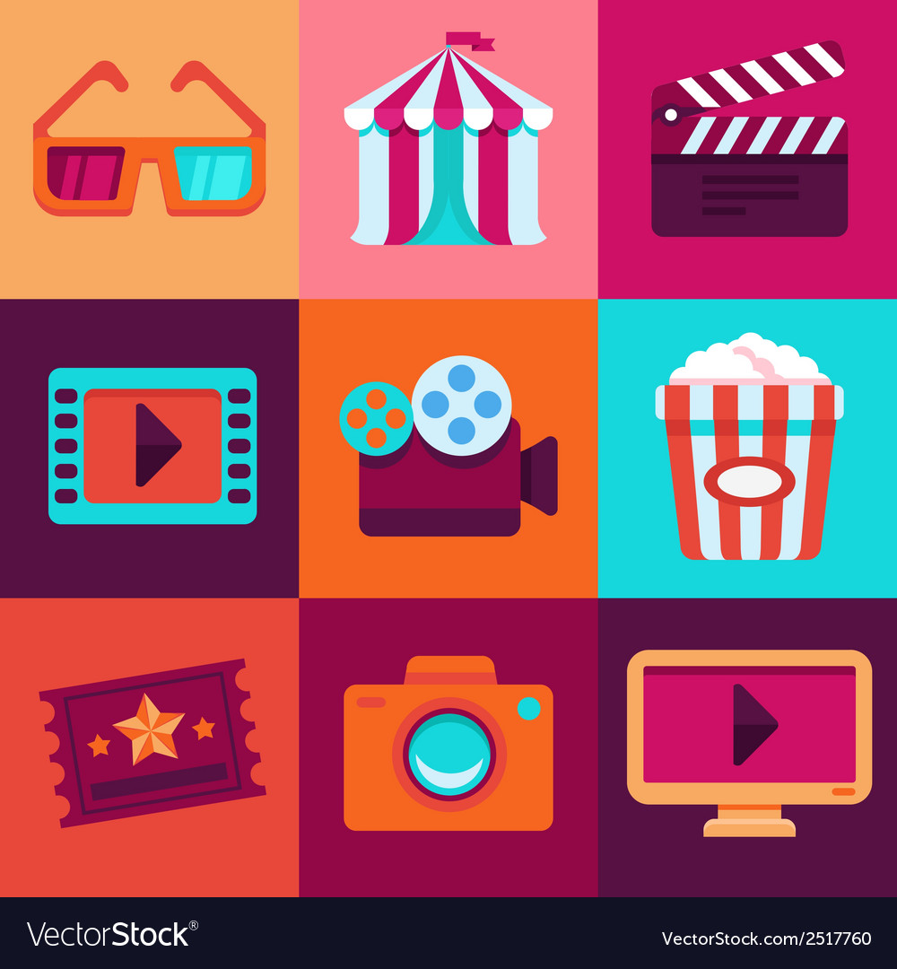 Flat cinema icons vector | Price: 1 Credit (USD $1)