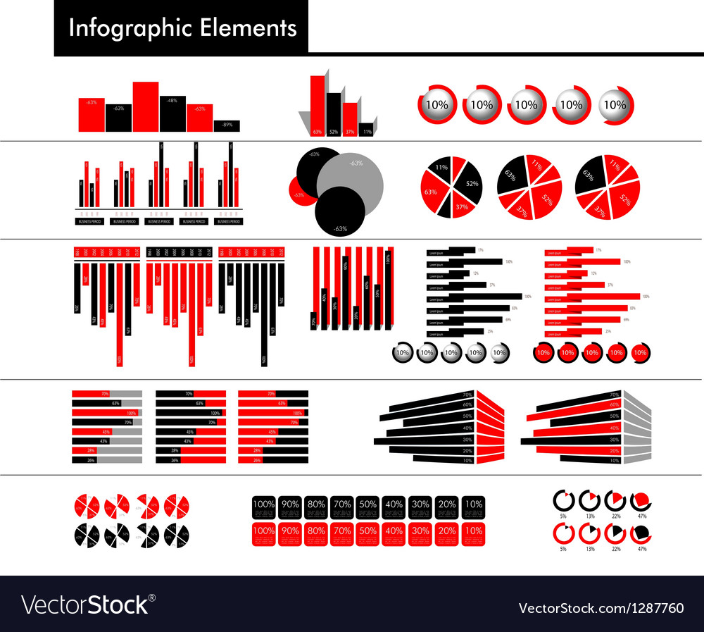 Infographic in black red and gray color vector | Price: 1 Credit (USD $1)