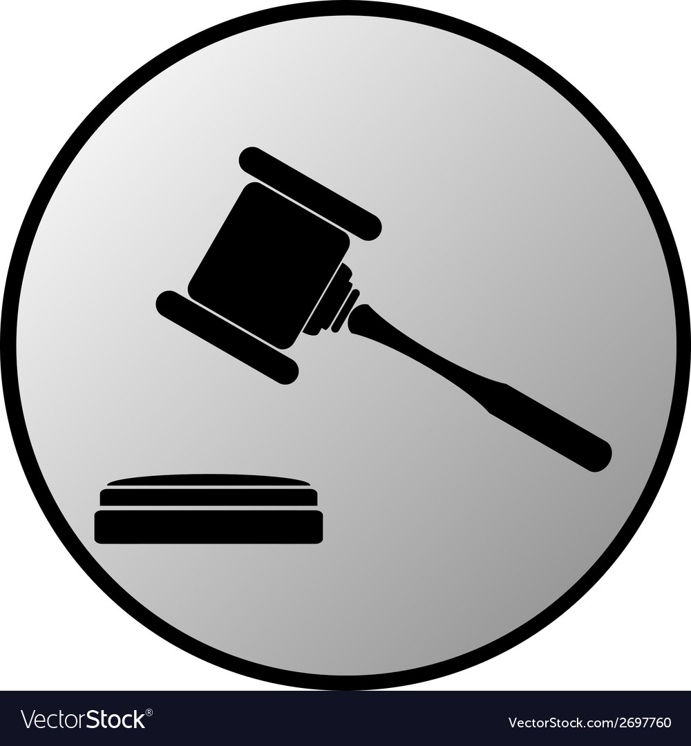 Judge gavel button vector | Price: 1 Credit (USD $1)