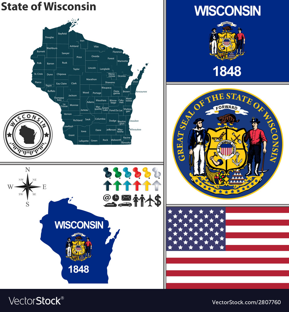 Map of wisconsin with seal vector | Price: 1 Credit (USD $1)