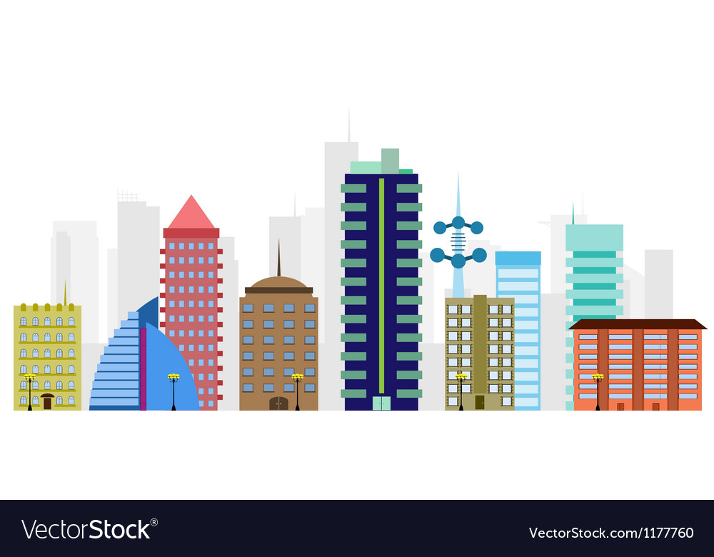 Multi-colored city vector | Price: 1 Credit (USD $1)