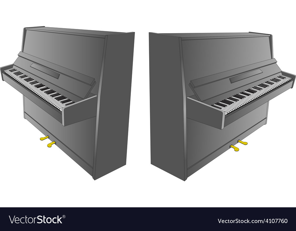 Opened piano drawing with pedals and desk vector | Price: 1 Credit (USD $1)