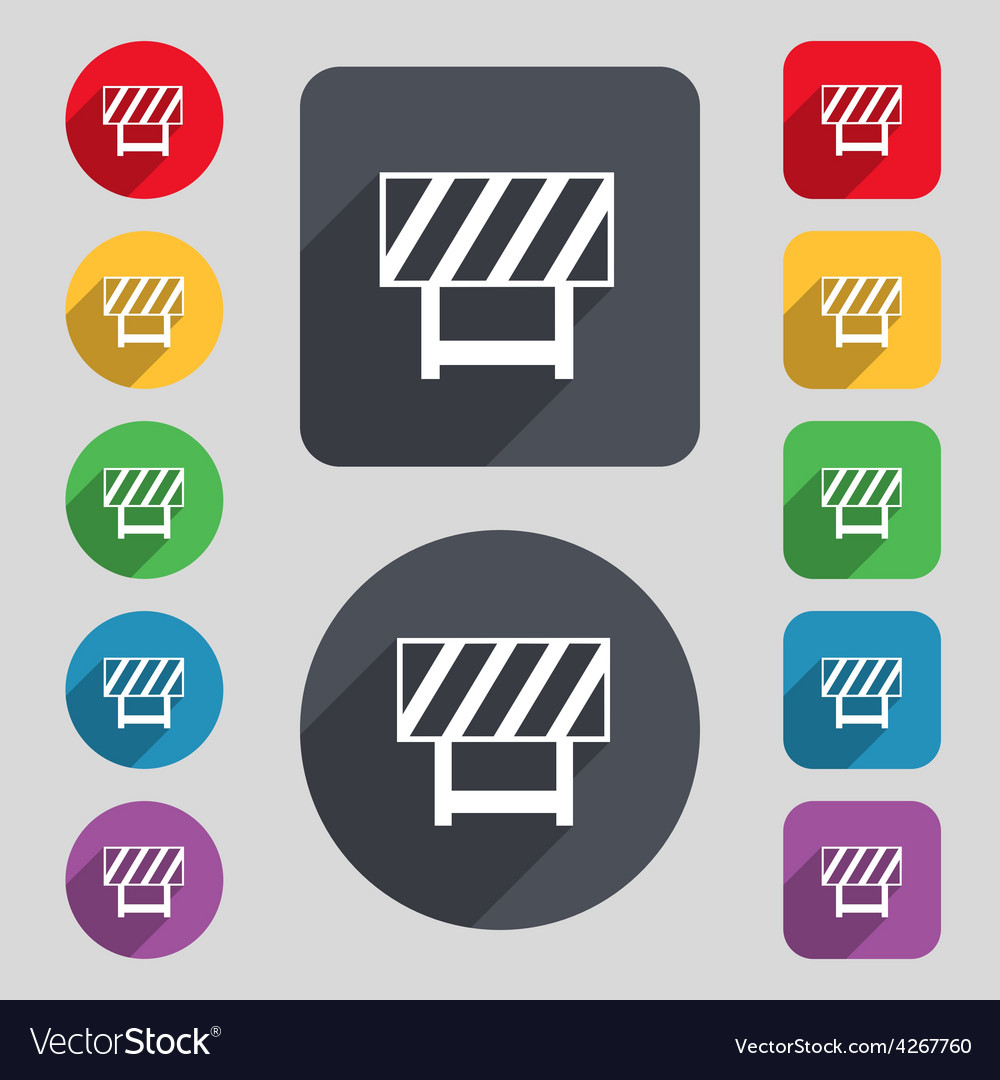 Road barrier icon sign a set of 12 colored buttons vector | Price: 1 Credit (USD $1)