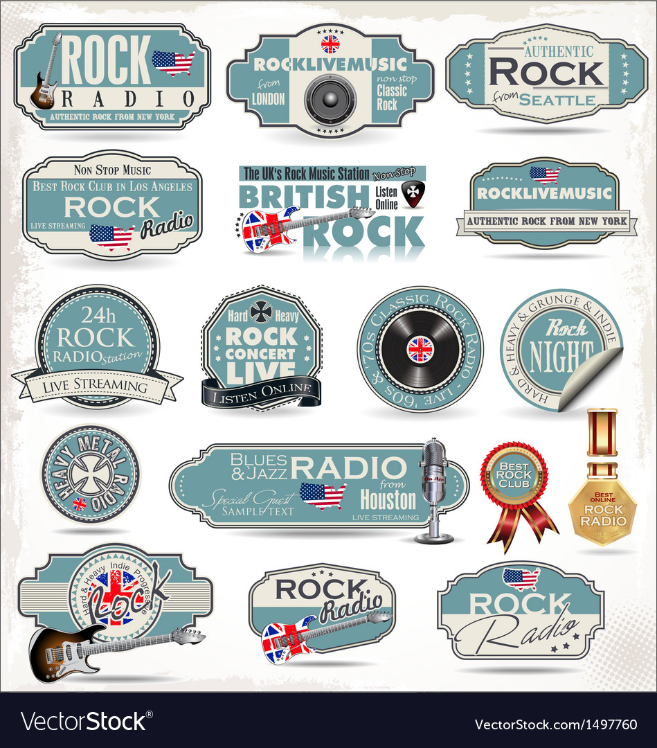 Rock music labels vector | Price: 3 Credit (USD $3)