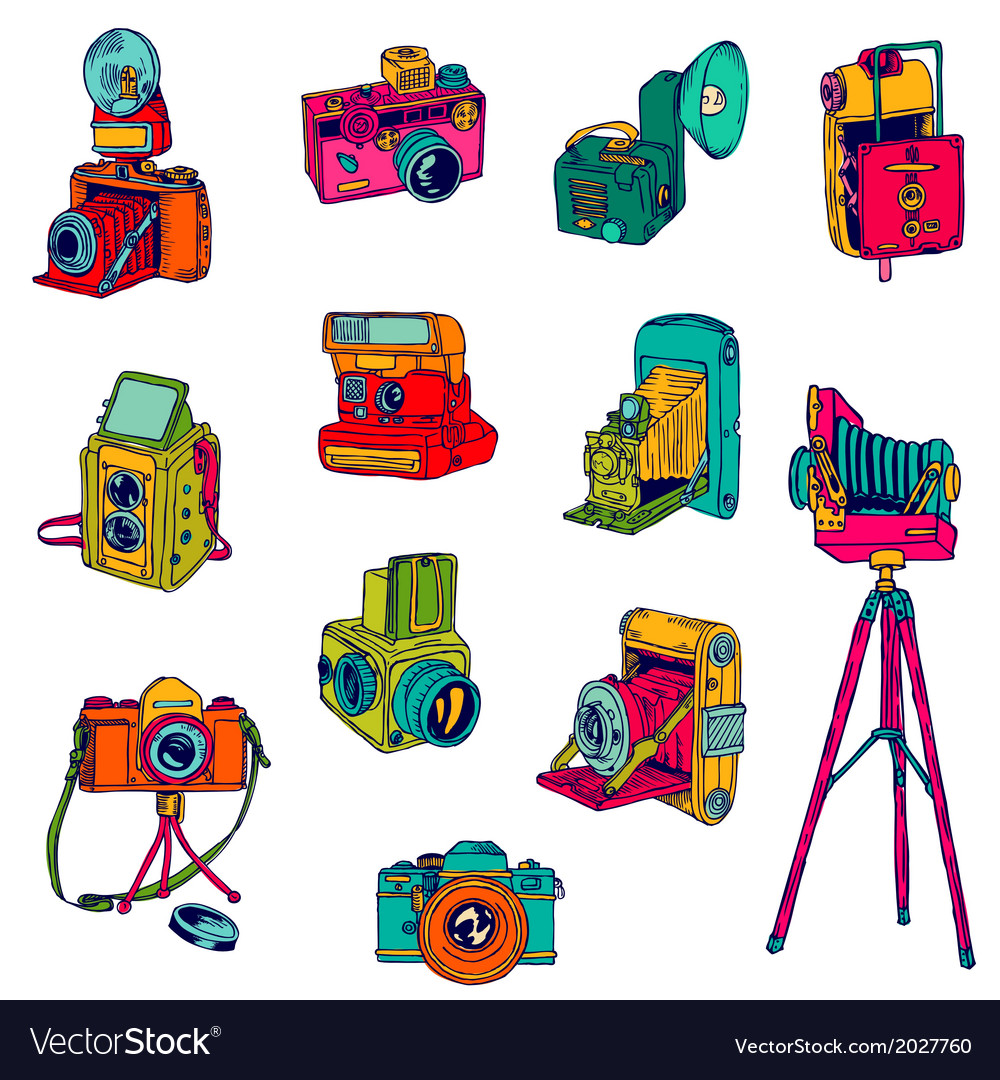 Set of photo cameras - hand-drawn doodles vector | Price: 1 Credit (USD $1)