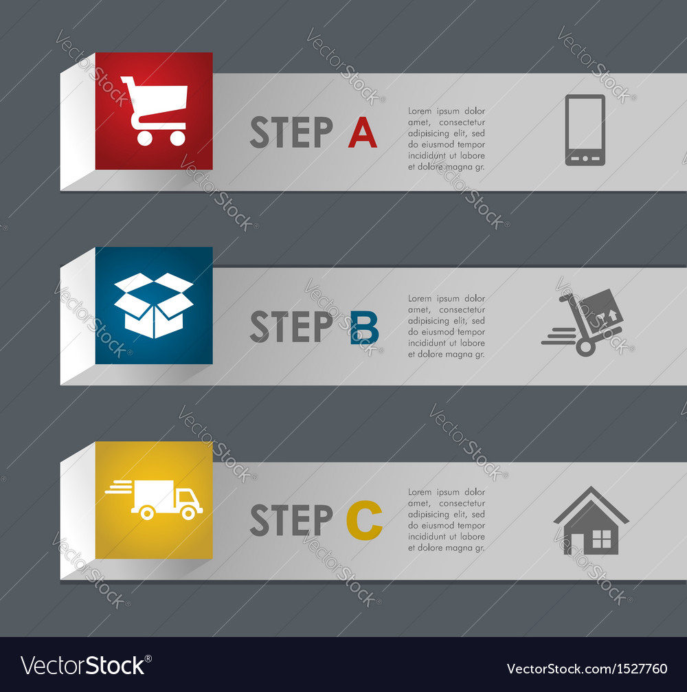 Web shopping and shipping steps vector | Price: 1 Credit (USD $1)