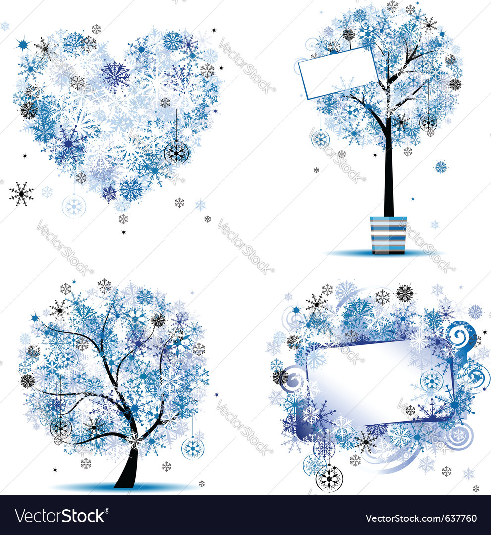 Winter tree frames vector | Price: 1 Credit (USD $1)