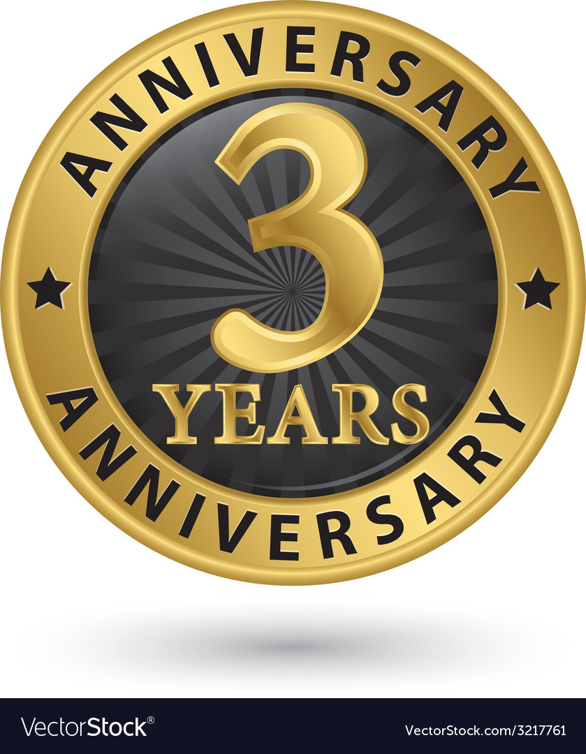 3 years anniversary gold label vector | Price: 1 Credit (USD $1)