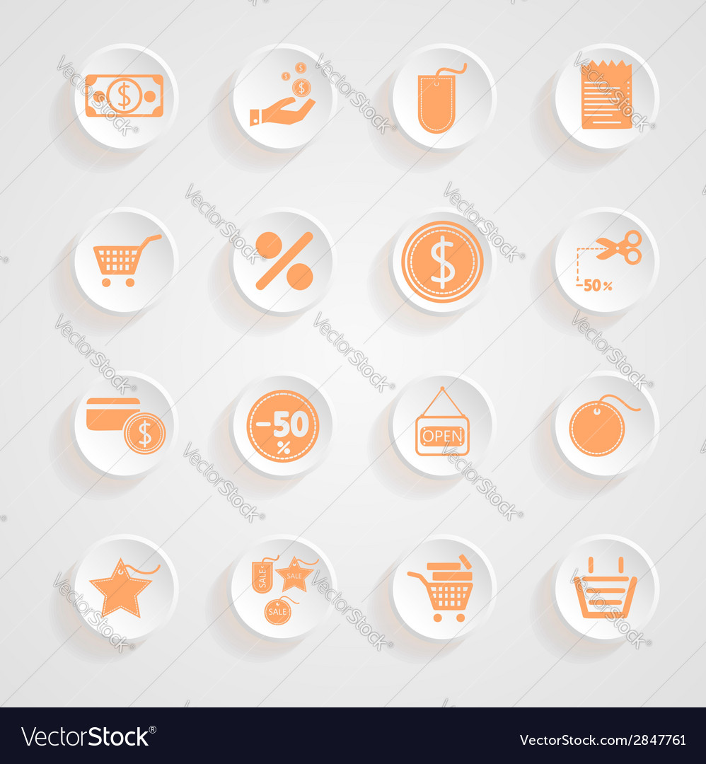 Button shadows shopping icon set vector | Price: 1 Credit (USD $1)