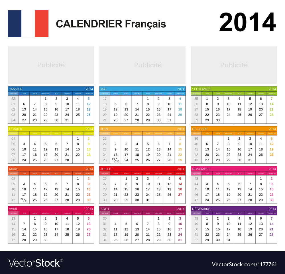 Calendar 2014 french type 19 vector | Price: 1 Credit (USD $1)