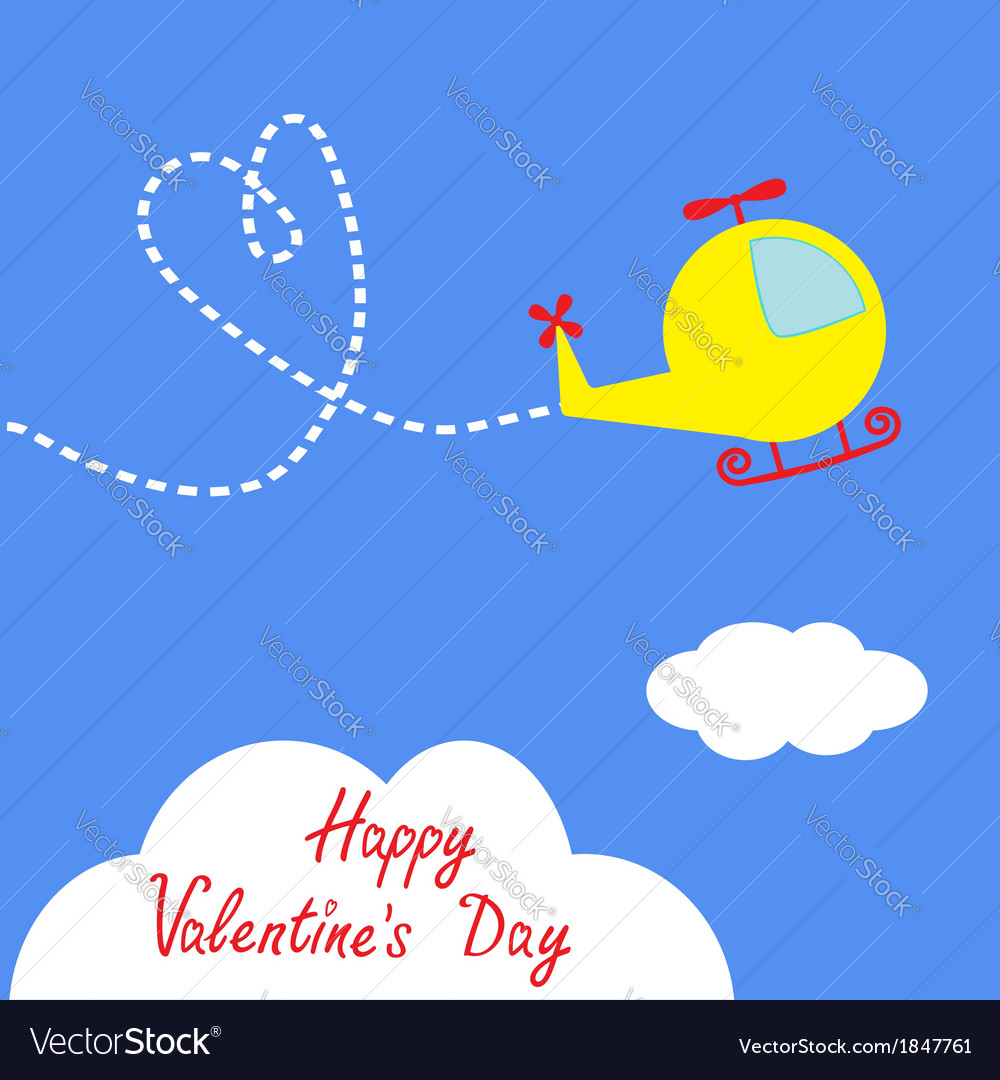 Cartoon helicopter dash heart valentines day vector | Price: 1 Credit (USD $1)