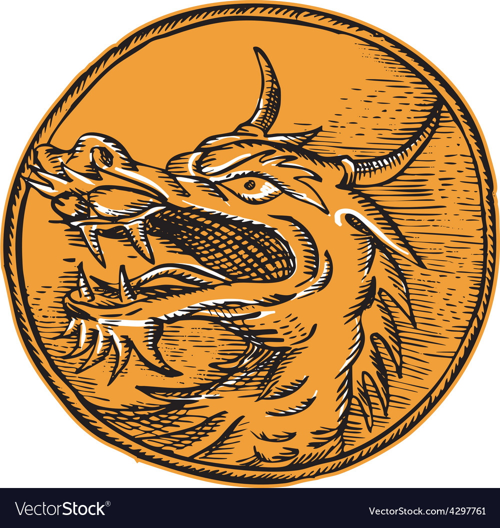Chinese dragon head circle etching vector | Price: 1 Credit (USD $1)