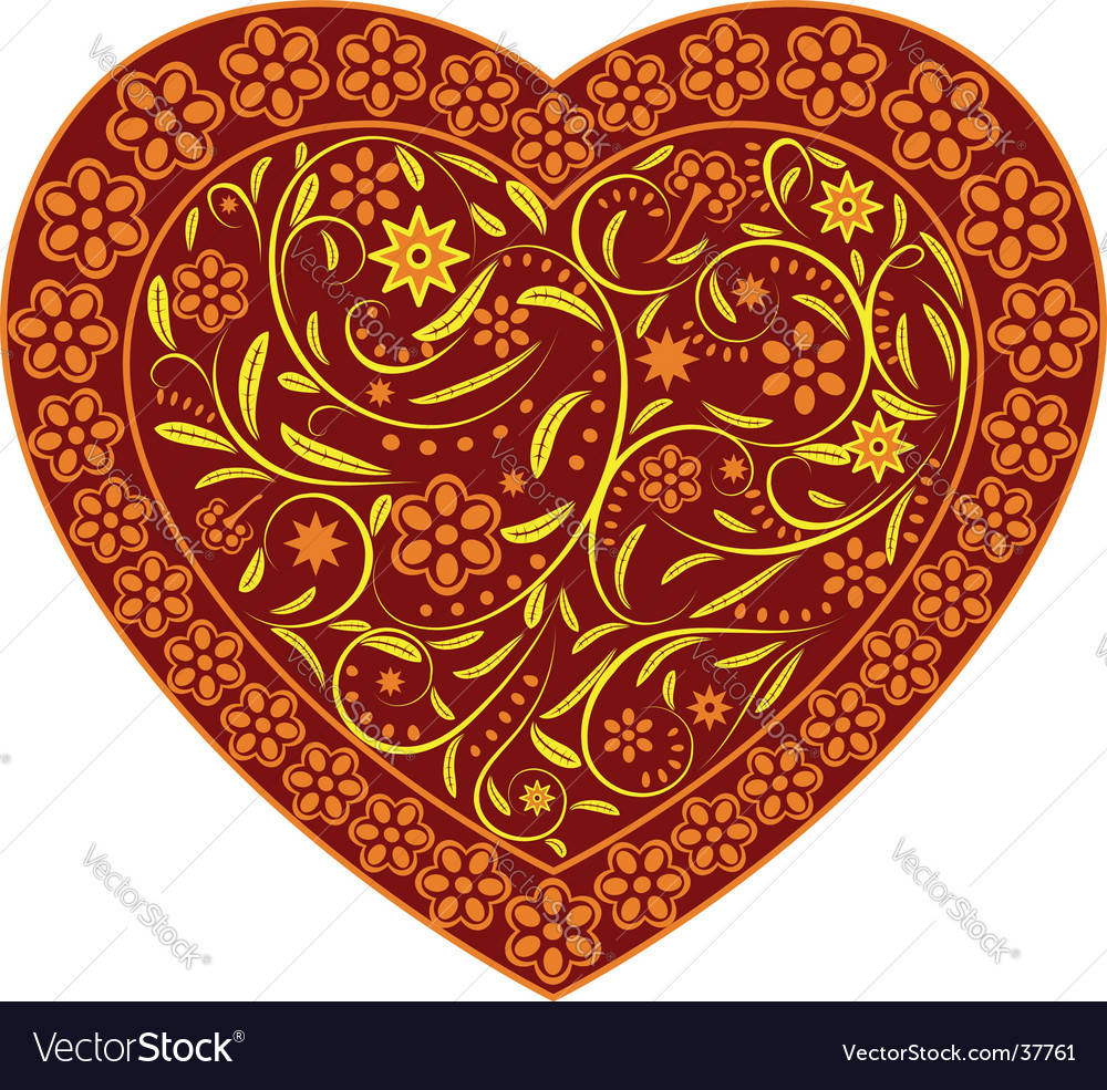 Claret heart with ornament vector | Price: 1 Credit (USD $1)