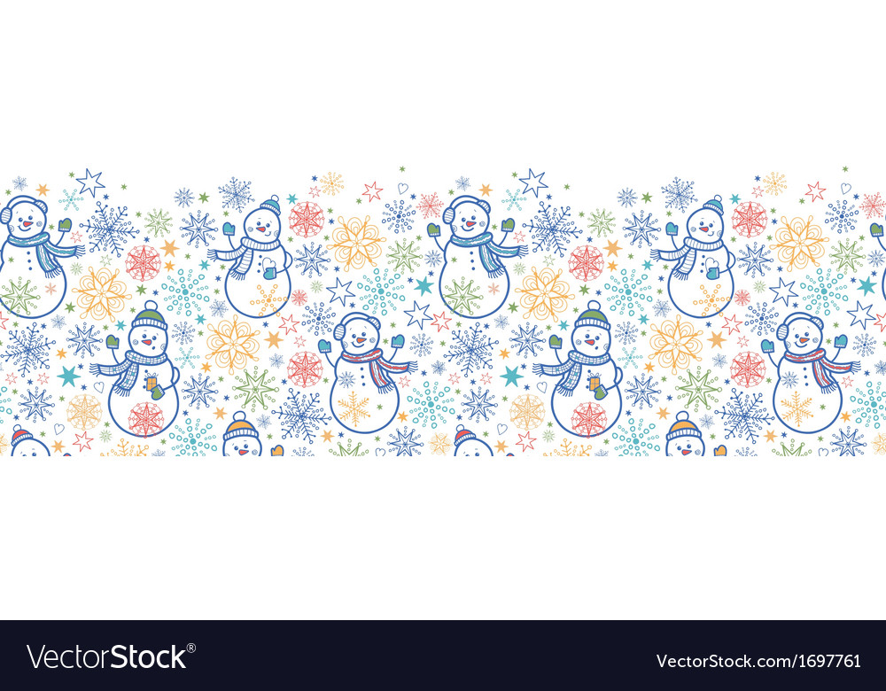 Cute snowmen horizontal seamless pattern vector | Price: 1 Credit (USD $1)