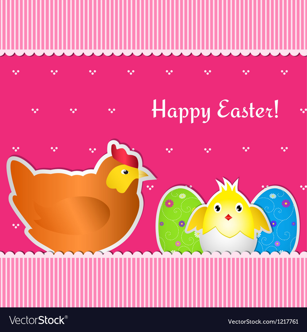 Easter card with chicken chick and two eggs vector | Price: 1 Credit (USD $1)