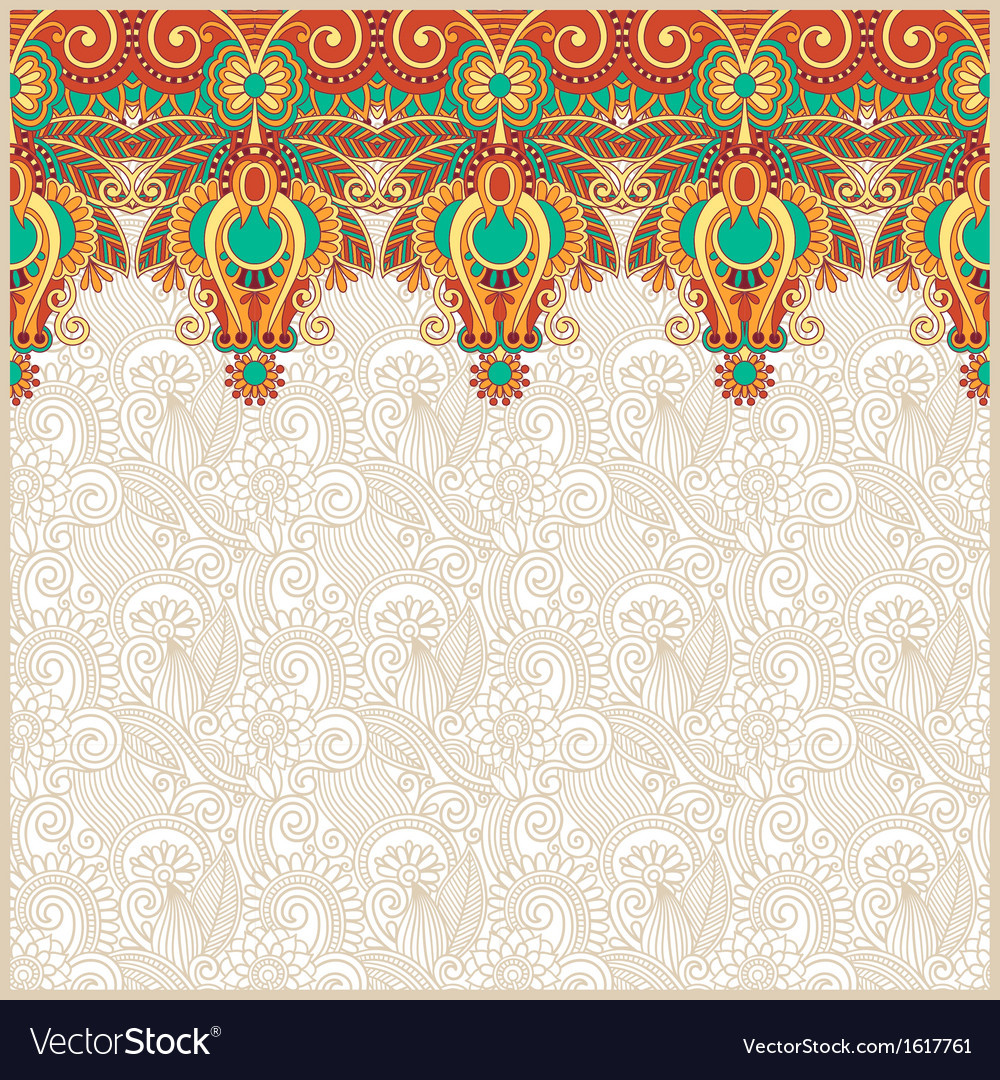 Floral background with ornament stripe vector | Price: 1 Credit (USD $1)