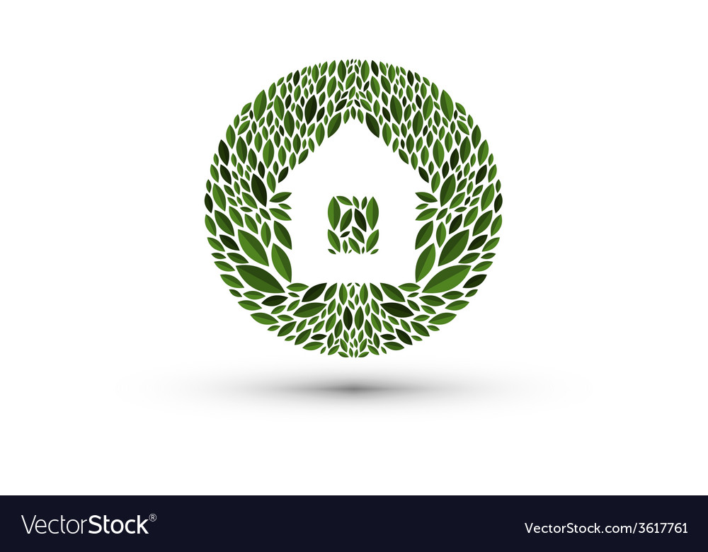House and nature logo icon emblem template vector | Price: 1 Credit (USD $1)