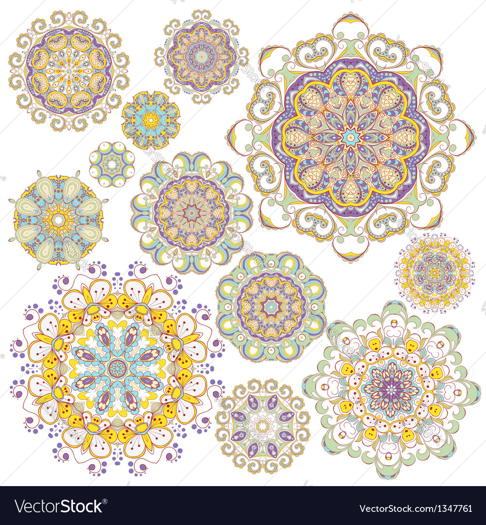 Set of twelve colorful ornaments vector | Price: 1 Credit (USD $1)