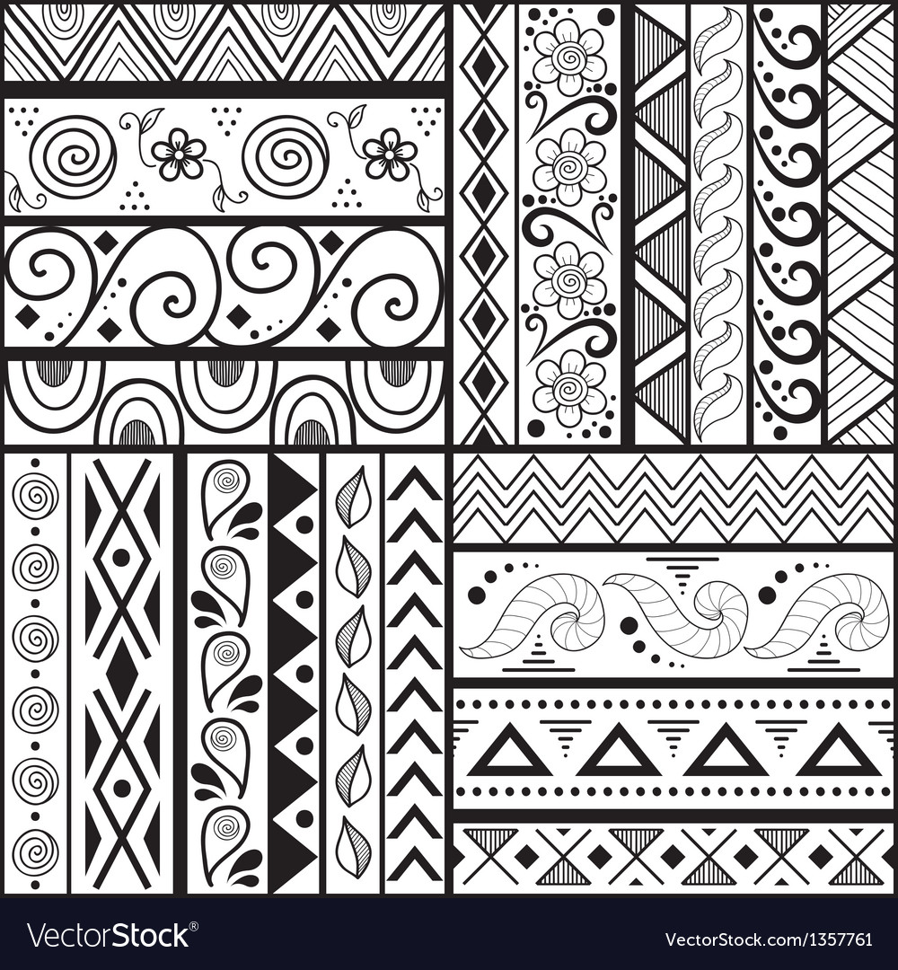 Tribal striped hand drawn seamless pattern vector | Price: 1 Credit (USD $1)
