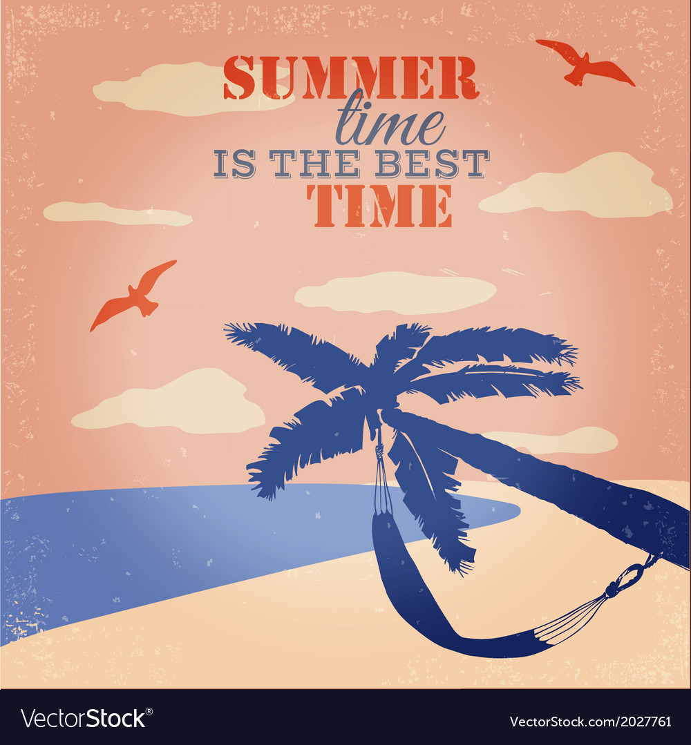 Vintage beach and summer poster vector | Price: 1 Credit (USD $1)