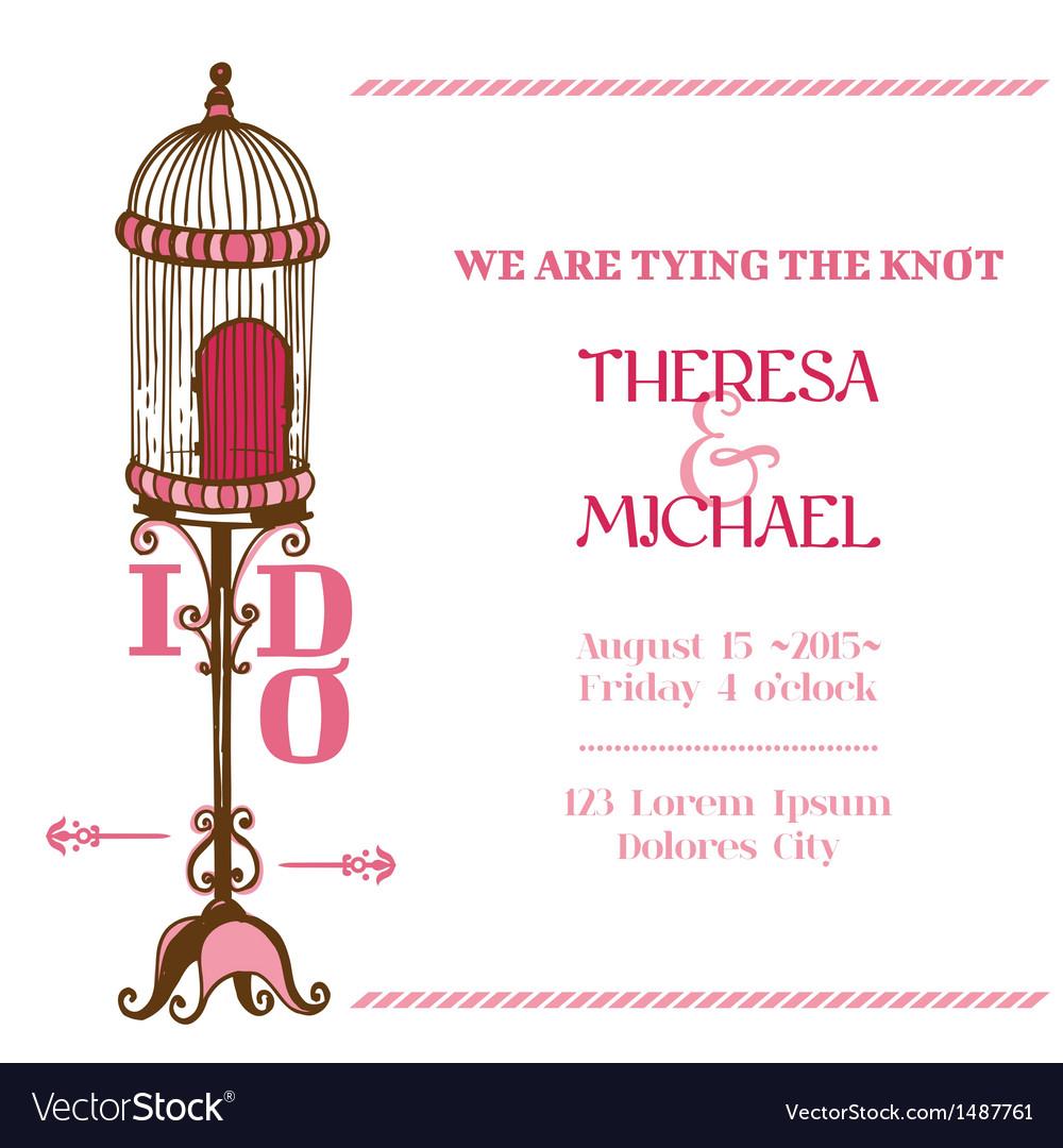 Wedding vintage invitation card - bird cage theme vector | Price: 1 Credit (USD $1)