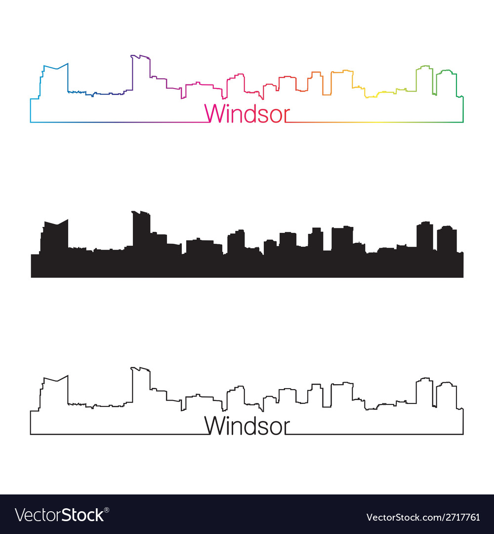 Windsor skyline linear style with rainbow vector | Price: 1 Credit (USD $1)
