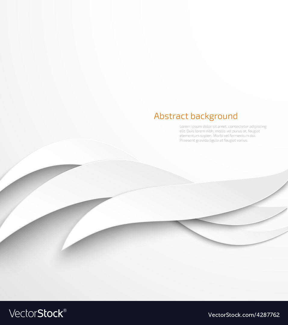 Abstract white waves background with drop shadow vector | Price: 1 Credit (USD $1)