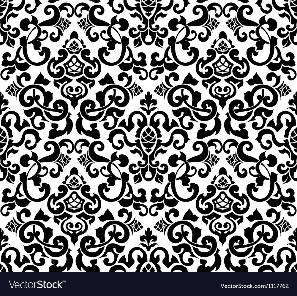Black seamless pattern silhouette vector | Price: 1 Credit (USD $1)