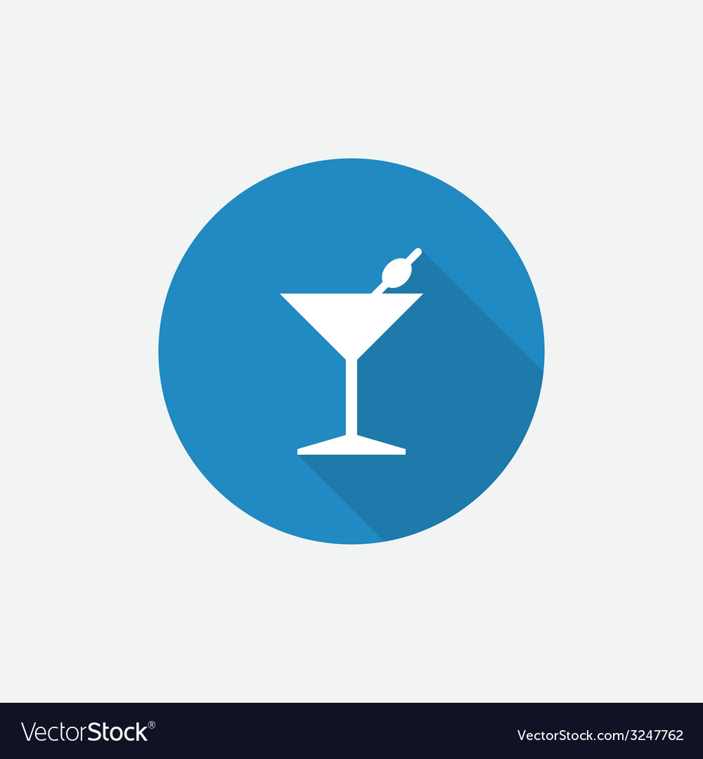 Cocktail flat blue simple icon with long shadow vector | Price: 1 Credit (USD $1)