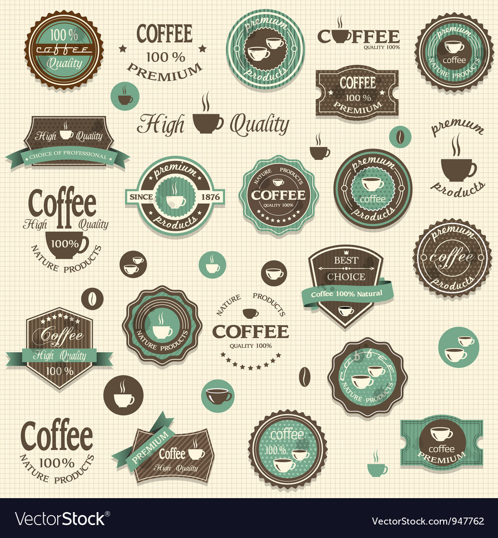 Collection of coffee labels and elements vector | Price: 1 Credit (USD $1)