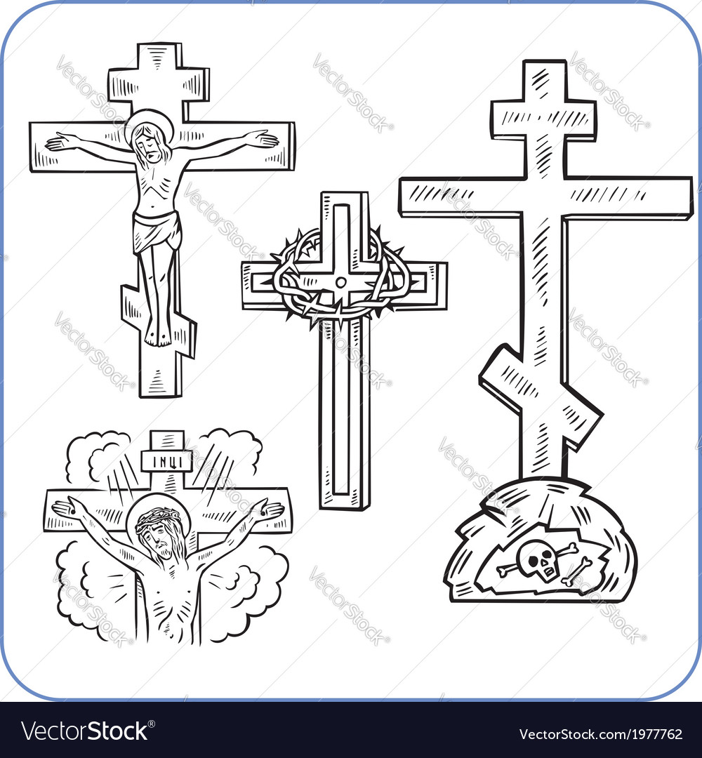 Cross and crucifix - vector | Price: 1 Credit (USD $1)