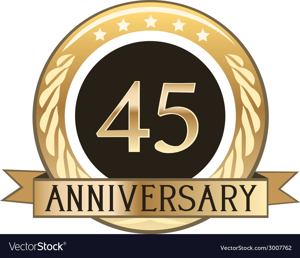 Forty five year anniversary badge vector | Price: 1 Credit (USD $1)