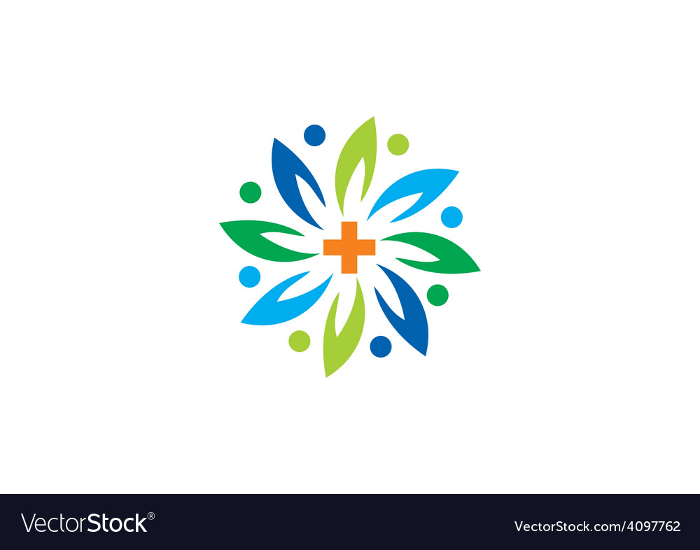 Medical green abstract flower logo vector | Price: 1 Credit (USD $1)