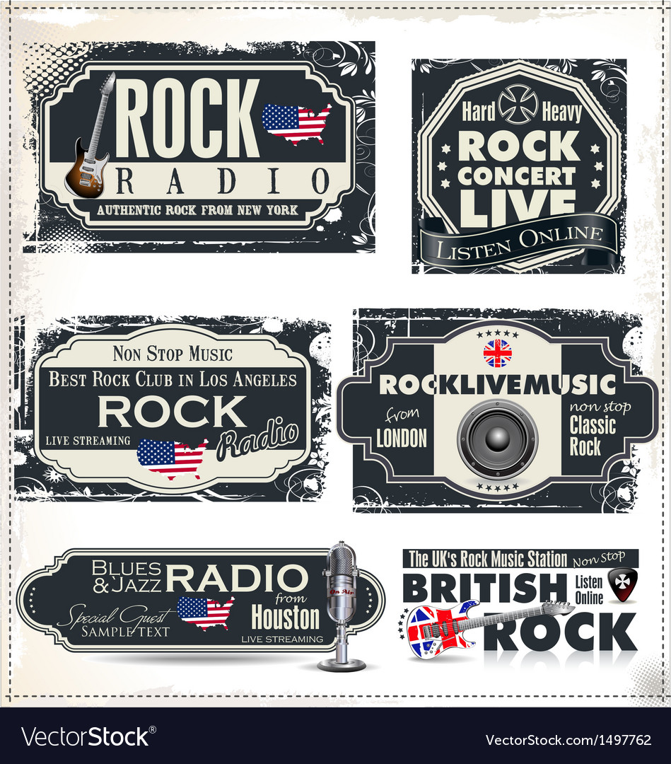 Rock music banner set vector | Price: 3 Credit (USD $3)
