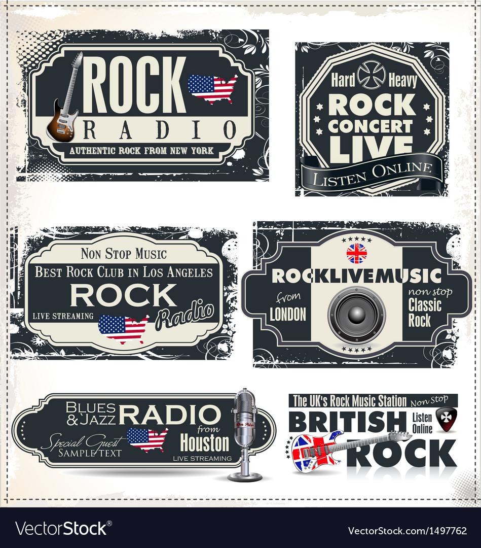 Rock music banner set vector | Price: 3 Credit (USD $3)