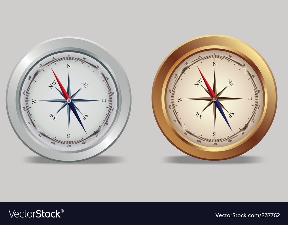 Silver and bronze compasses vector | Price: 1 Credit (USD $1)