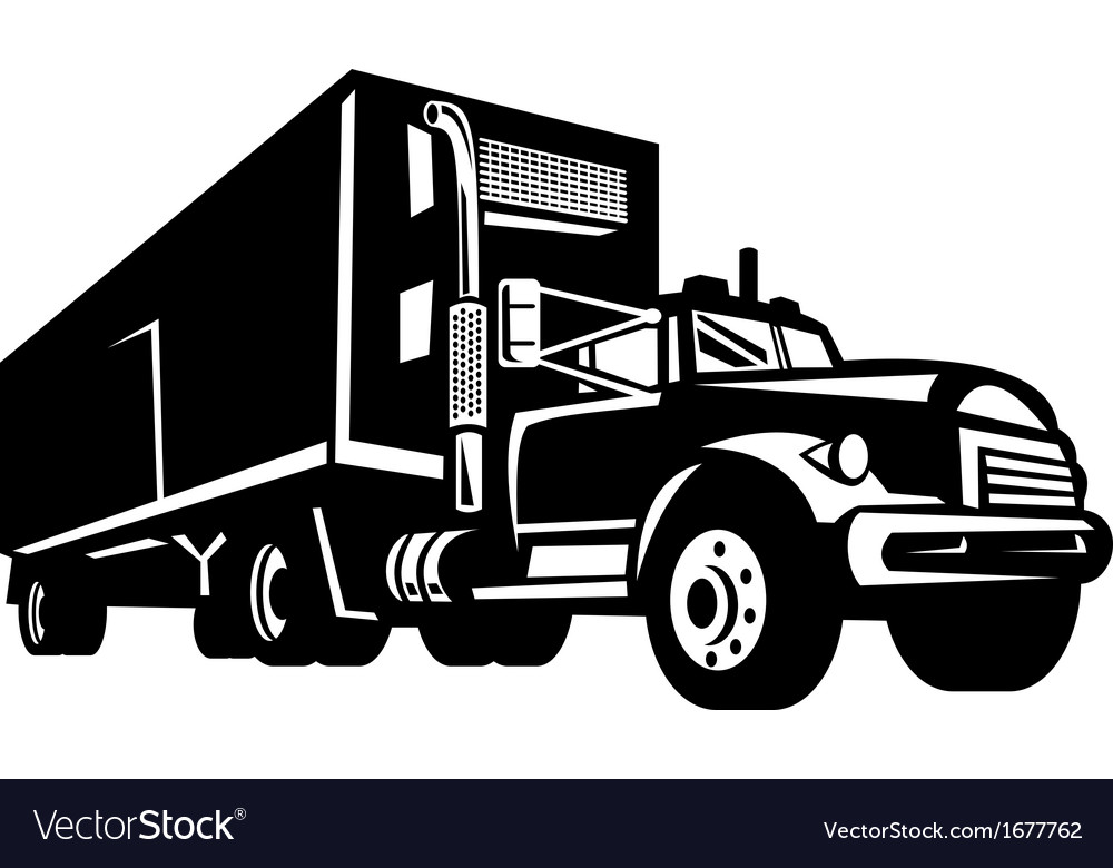 Truck with container van trailer vector | Price: 1 Credit (USD $1)