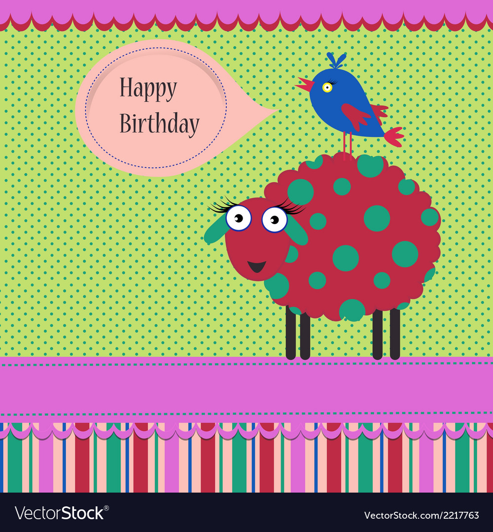 Birthday greeting template vector | Price: 1 Credit (USD $1)