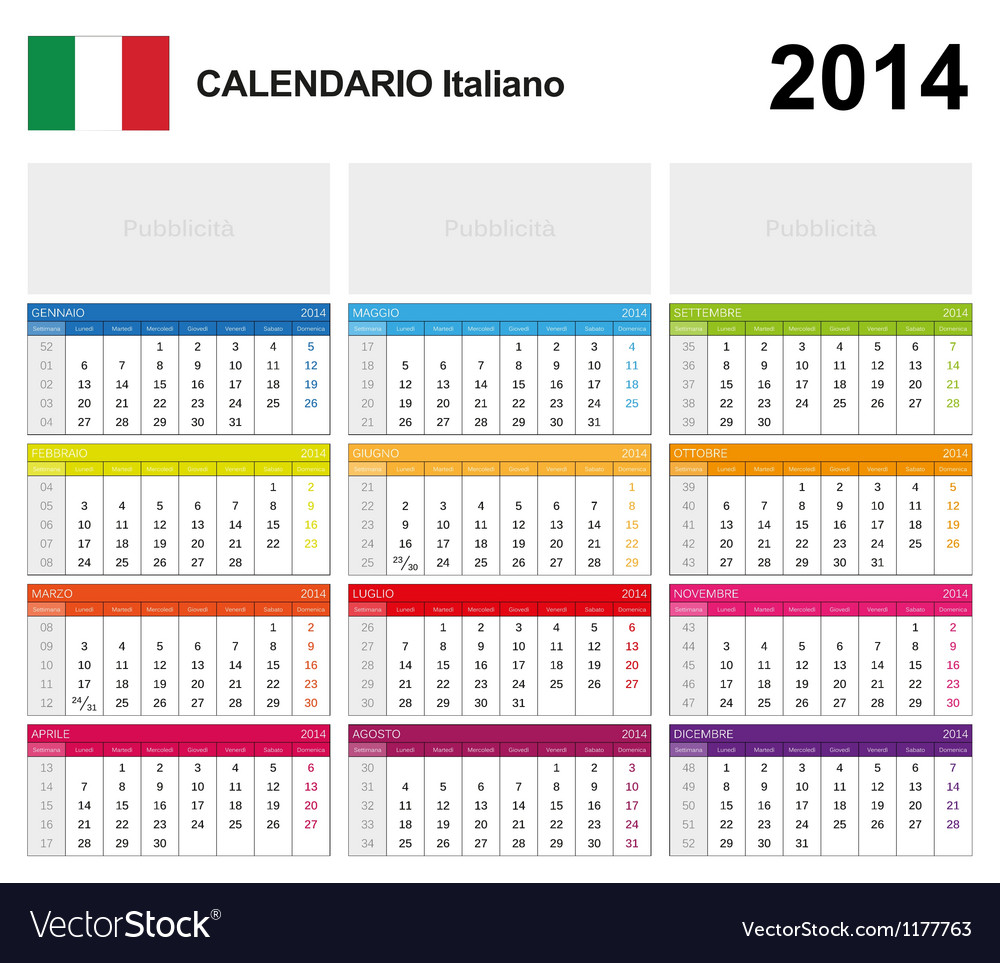 Calendar 2014 italy type 19 vector | Price: 1 Credit (USD $1)