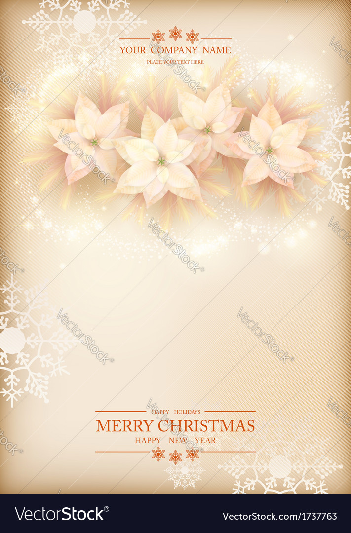 Christmas poinsettias celebration background vector | Price: 1 Credit (USD $1)