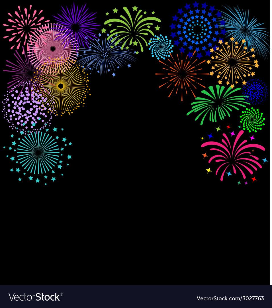Colorful fireworks frame on black background vector | Price: 1 Credit (USD $1)