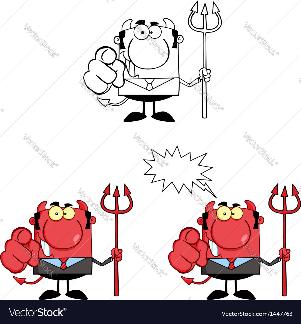 Devil boss with a trident and hand pointing finger vector | Price: 3 Credit (USD $3)