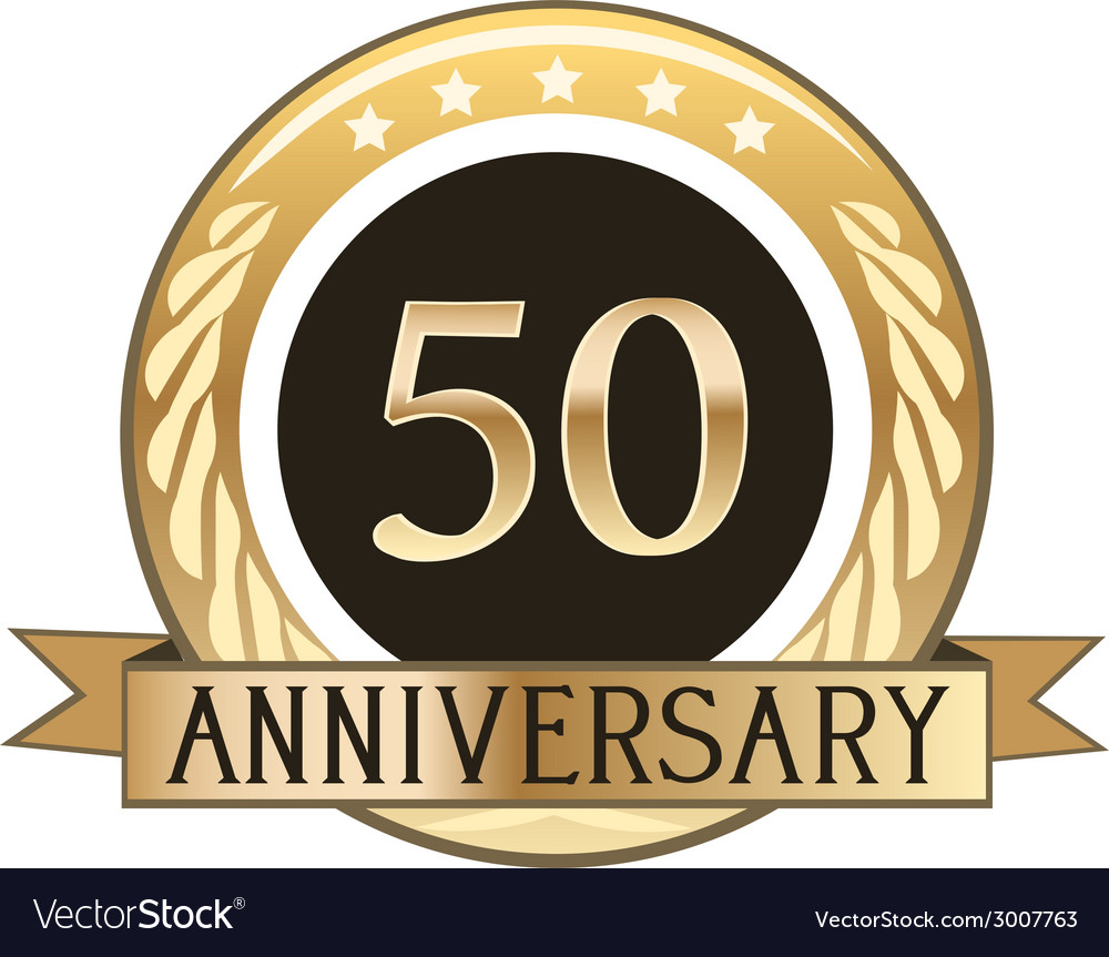 Fifty year anniversary badge vector | Price: 1 Credit (USD $1)